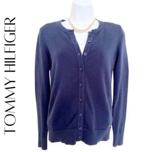 TOMMY HILFIGER Blue Embroidered Lace Cardigan, XS